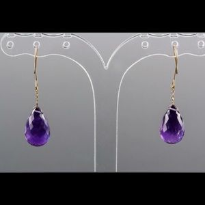 Jewelry - 14k natural amethyst earrings with certificate